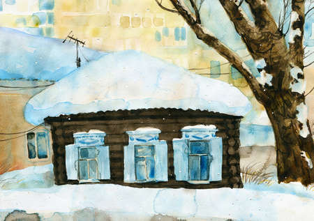 winter wood: Winter watercolor painting with old wooden house in snow. Hand drawn greening card.