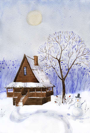 greening: Old wooden cabin in the forest. Hand drawn greening card.