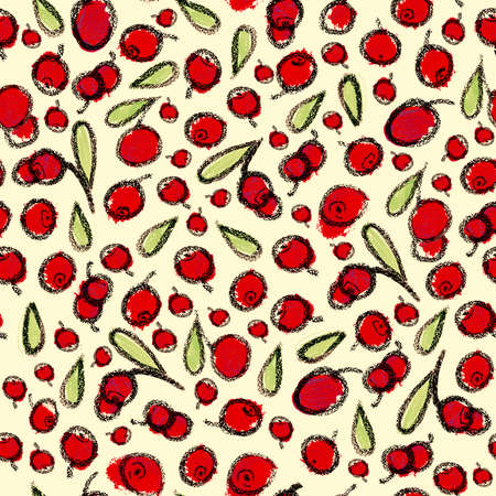 cowberry: Cranberry with leaves cute background. Berry Hand drawn pattern. Stock Photo