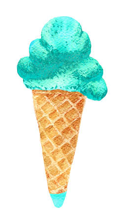 lick: Watercolour illustration with green mint flavor cone ice cream. Hand drawn picture isolated on white background. Illustration for cooking site, menus and food designs.