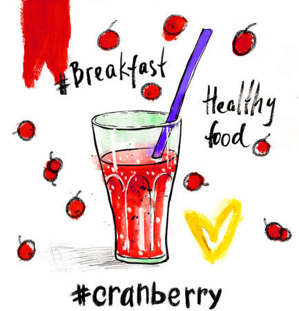 Watercolour illustration with glass of red cranberry juice a straw. Hand drawn picture isolated on white background. Illustration for cooking site, menus and food designs. Stock Photo