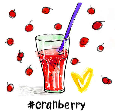 cranberry juice: Watercolour illustration with glass of red cranberry juice a straw.  Hand drawn picture isolated on white background. Illustration for cooking site, menus and food designs.