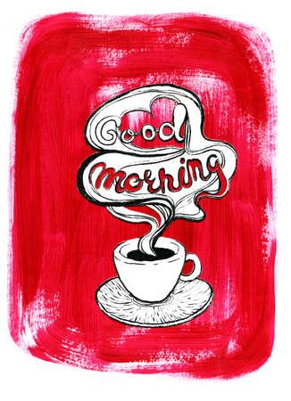 塗装の赤のアクリルの背景に白いコーヒー カップ。料理サイト、メニューの食品の設計図。 写真素材