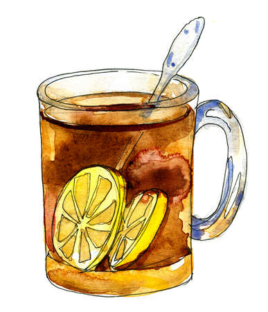 Black tea with lemons in a glass mug.  Illustration for cooking site, menus and food designs. Watercolour isolated on white background. Stock Photo