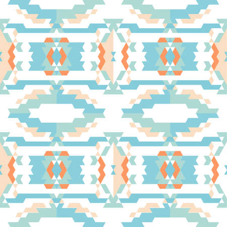 seamless sky: Aztec tribal seamless sky blue pattern on white. Illustration