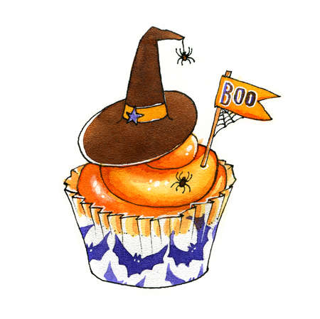 Funny Halloween cupcake with witch hat and spiders. Watercolor trick or treat characters. Hand drawn illustration. Stock Photo