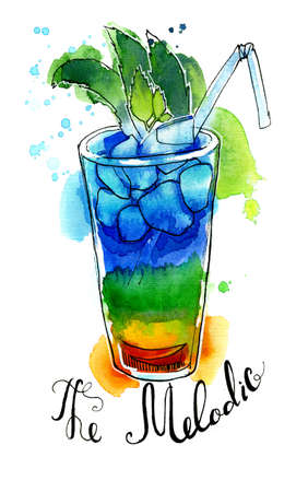 Watercolor colorful rainbow cocktail with ice cubes and straw. Illustration, design element for menu, card, postcard, posters.