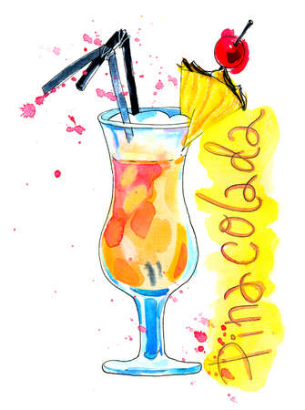 pineapple slice: Watercolor colorful pinacolada cocktail with straws, pineapple slice and cherry. Illustration, design element for menu, card, postcard, posters.