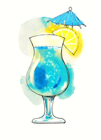 Watercolor red transparent cocktail with lemon slice and small umbrella. Illustration, design element for menu, card, postcard, posters. Stock Photo