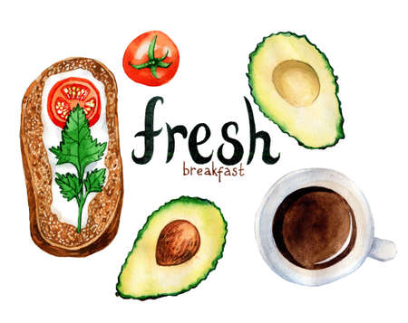 Watercolor illustration of a breakfast meal: scrambled eggs, avocado, bacon and coffee. Hand drawn illustration. Stock Photo