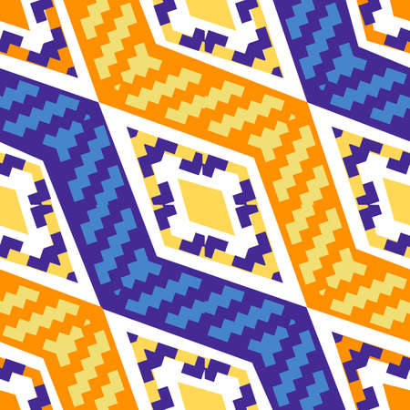 Yellow and blue diagonal african geometric pattern