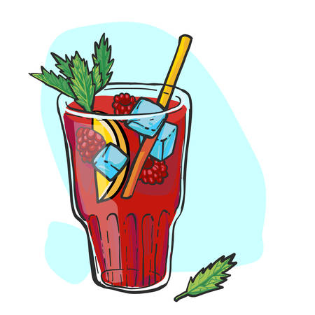 Raspberry lemonade in a glass with ice and mint. Hand drawn vector illustration. Ilustração