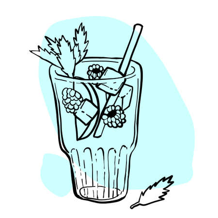 Raspberry lemonade in a glass with ice and mint. Black and white hand drawn vector illustration.