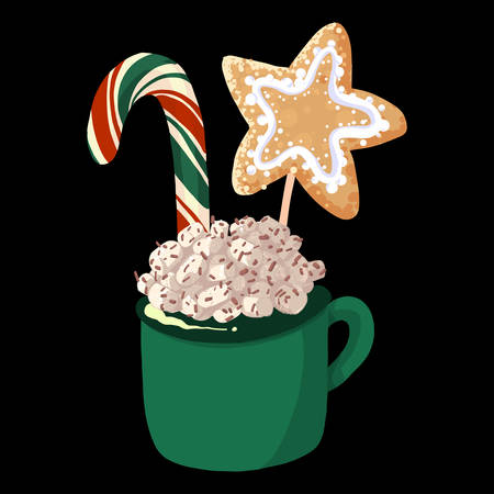 Green cup of hot chocolate with marshmallows. Winter dessert beverage with candy cane and cookies. Vector illustration cartoon flat icon isolated on white. Çizim