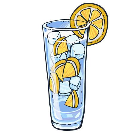 Bicchiere da limonata con fetta di limone e cubetti di ghiaccio. Illustrazione vettoriale disegnato a mano.