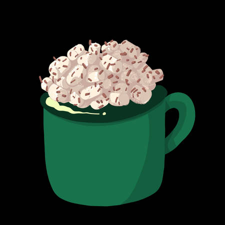 Green cup of hot chocolate with marshmallows. Winter dessert beverage. Vector illustration cartoon flat icon isolated on white. Çizim
