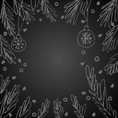 Background for winter holidays with space for text and fir tree branches frame. Hand drawn concept for banners and postcards