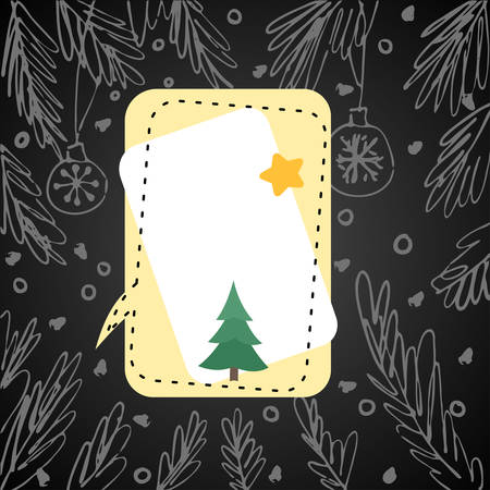 Illustration for winter holidays with blank speech bubble, fir tree branches. Hand drawn concept for banners and postcards