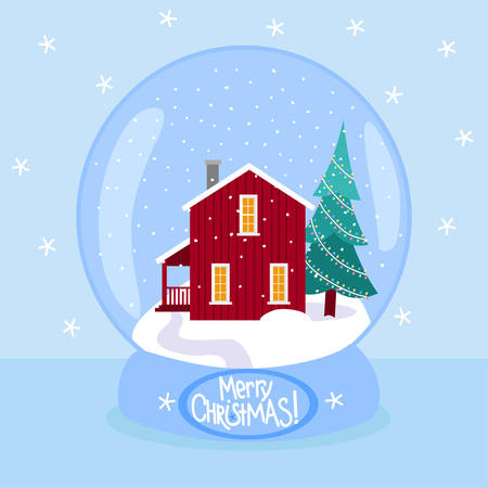 Christmas snow globe with snowy scandinavian red house and a fir tree in flat style. Merry christmas glass ball vector illustration. Stock Illustratie