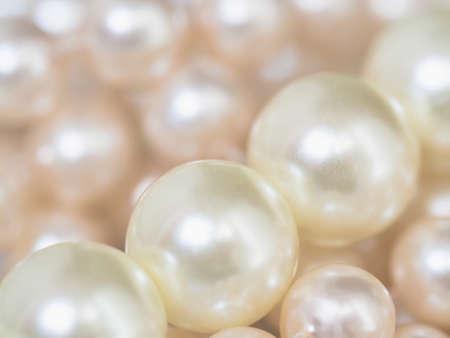 Textura de perlas blancas. Vista cercana, imagen de enfoque selectivo Foto de archivo