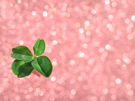 Frischer grüner glücklicher vierblättriges Kleeblatt auf rosa funkelnden Bokeh-Hintergrund. Design für Ihre Anzeige, Poster, Banner. Schönes St Patrick's Day Konzept