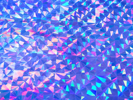 Holographic colorful purple blue lights festive background. Abstract geometric pattern backdrop. Design for your ad, poster, banner