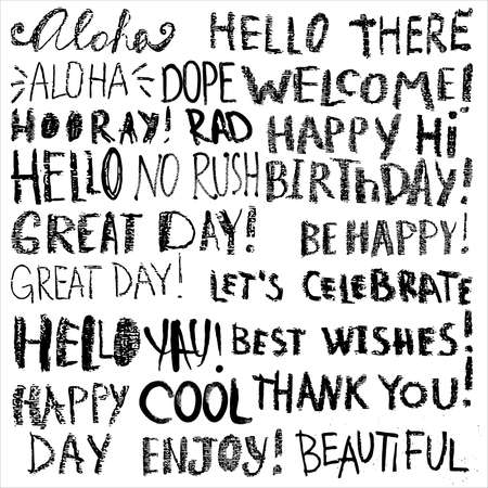 Happy birthday and simple wishes themed hand drawn inscriptions set. Simple phrases, quotes for greeting card or apparel print. Vector illustration