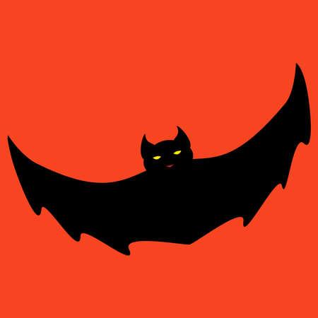 vampire bats: Black devil bat isolated on orange background.