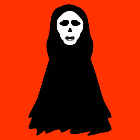 Ghost mascot with skull mask for Halloween costume isolated on orange background. Ilustrace