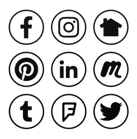 Kiev, Ukraine - october 01, 2019: Facebook, Instagram, Linkedin and other logo. Social network sign printed on paper