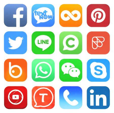 Kiev, Ukraine - may 03, 2019: Facebook, Instagram and Whatsapp logo. Social network sign printed on paper