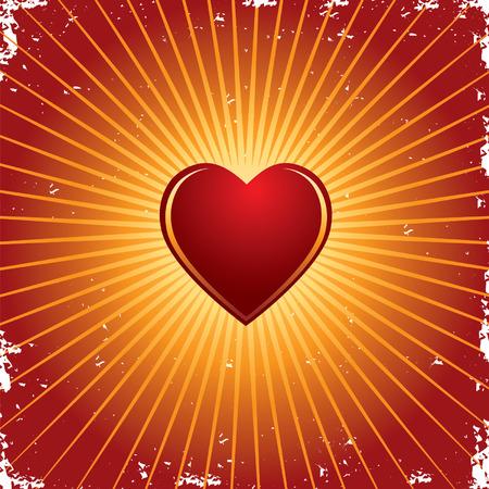 Vector valentine shiny glowing heart