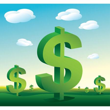 Vector Landschaft Dollar Zeichen Standard-Bild - 2553216