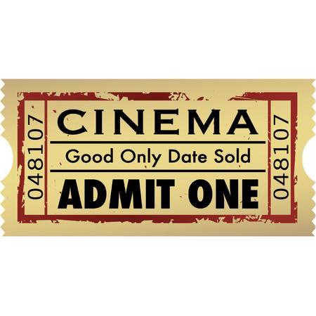 cinema old: Vector grunge film biglietto