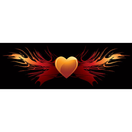 Vector heart illustration with flaming wings