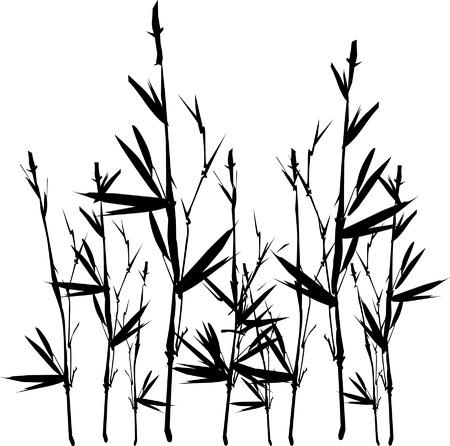 Bamboe takje wijnbouwoppervlakten Stock Illustratie
