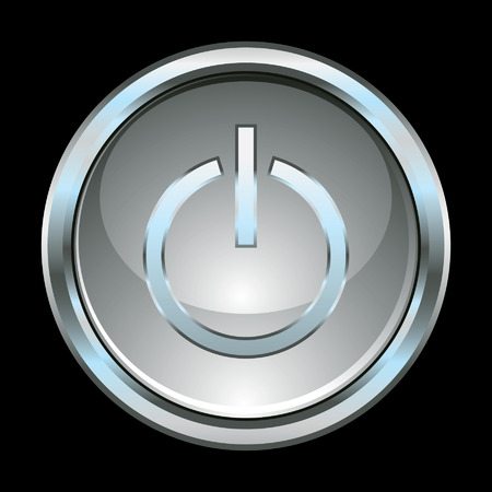 Chrome glossy power switch button Vector