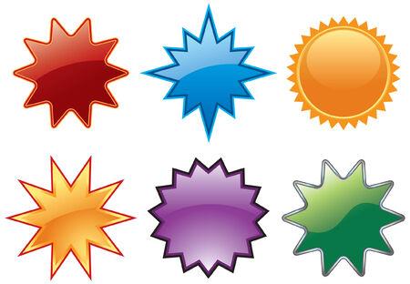Assorted burst icon symbols