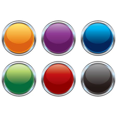 Glossy chrome buttons Vector
