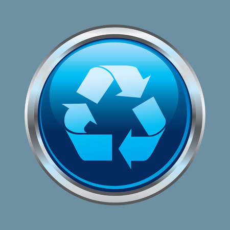 Chrome recycle glossy button Illustration