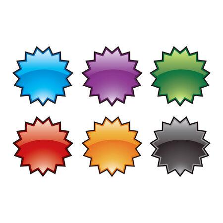 Colorful glossy burst icons 向量圖像