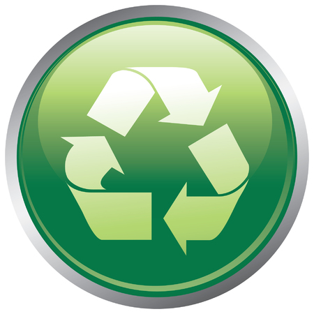 Glossy recycle button Stock Vector - 3954673