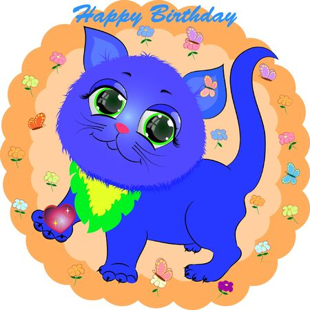 birthday greeting card with blue cat. cartoon vector illustration with kitty.