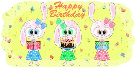 birthday greeting card with cute rabbits. cartoon hares vector illustration. bunny sweet vector illustration.