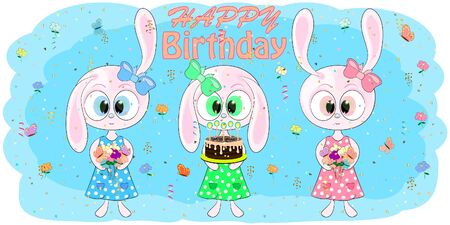 birthday greeting card with hares. cartoon vector illustration with rabbits. bunny vector cartoon vector illustration. Ilustracja