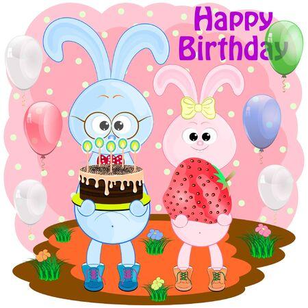 birthday greeting card with rabbits. bunny cartoon cute vector illustration. two hares cartoon vector illustration. Illustration