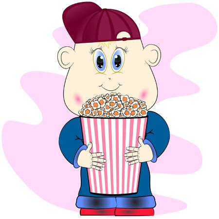 boy with popcorn cartoon vector illustration. little cartoon cute boy with popcorn illustration. boy cartoon vector illustration.