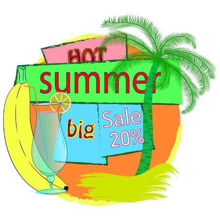 Summer big sale banner vector illustration. Çizim