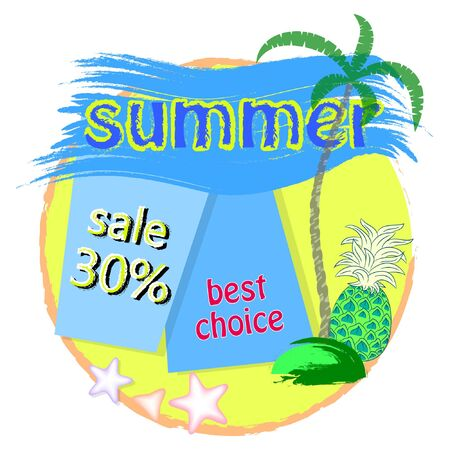 Summer sale poster with palm tree and pineapple vector illustration. Çizim