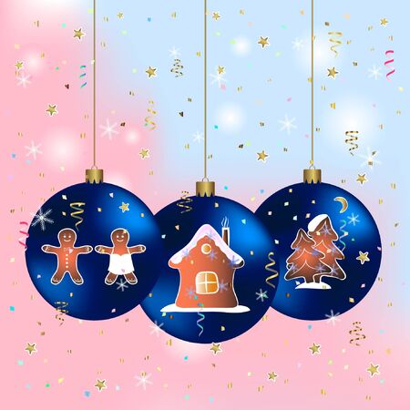 merry christmas greeting card with blue balls. happy new year greeting card vector illustration.